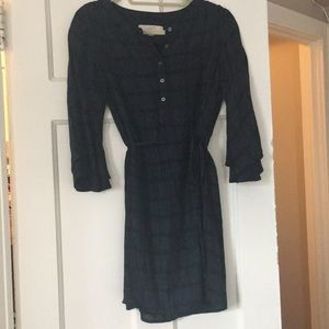 Plaid Dress with Flare Sleeves